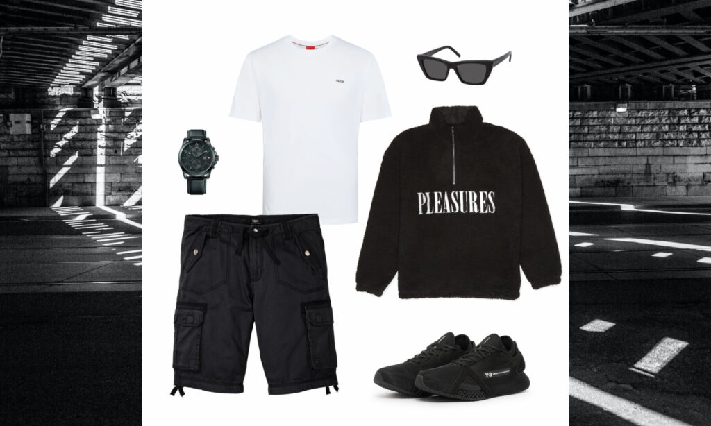 Schwarz & weißes Streetwear-Outfit von LEWK
